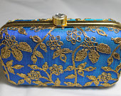 blue clutch with zari and gold sequin workwedding clutch,evening purse,fancy clutch,bride clutch