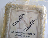 custom cookie favors champagne and black monogram 1 dozen