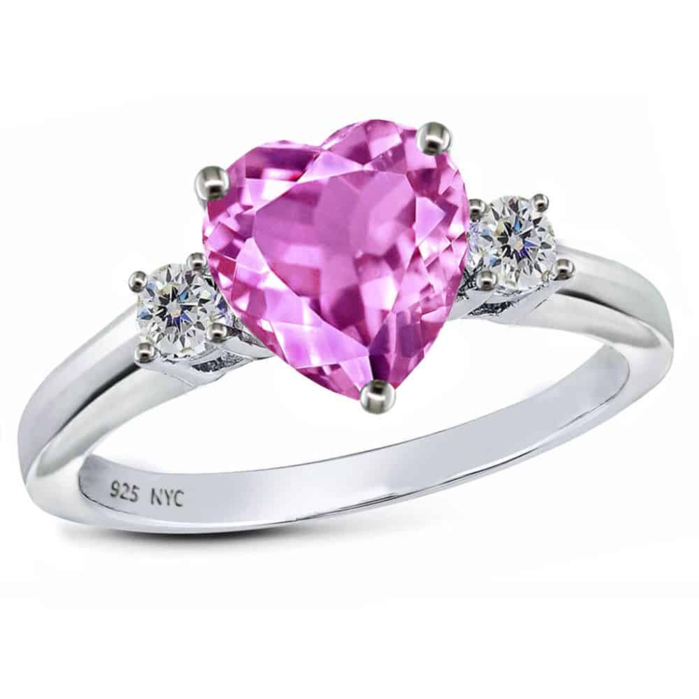 Pink Sapphire Heart Sterling Silver Ring