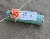 set of 150 unique wedding favors, mints with personalized tags mint paisley with peach roses, mint to be theme, edible wedding favors