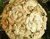the Nikki book pages pearls vintage look bouquet with 12 roses and faux pearls burlap and green inked leaves